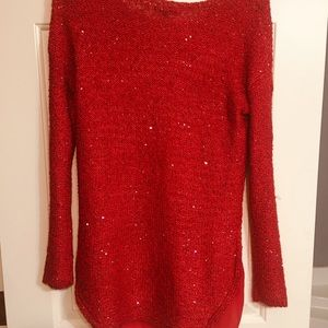 Red stylish sweater with sequins